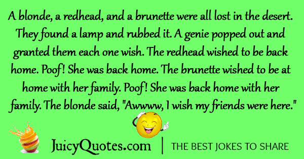 Brunette and blonde jokes, hippienude twat
