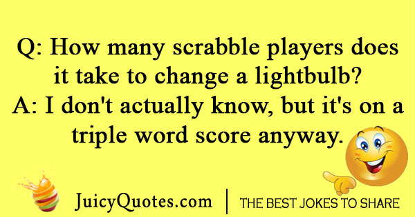 Lightbulb scrabble joke