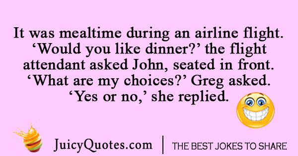 Airplane meal joke