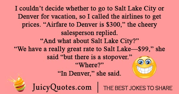 Airline stopover joke