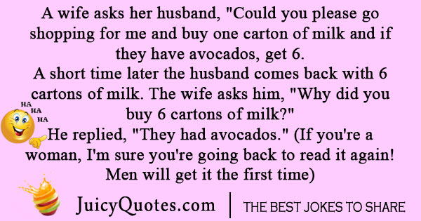 Really funny husband and milk joke