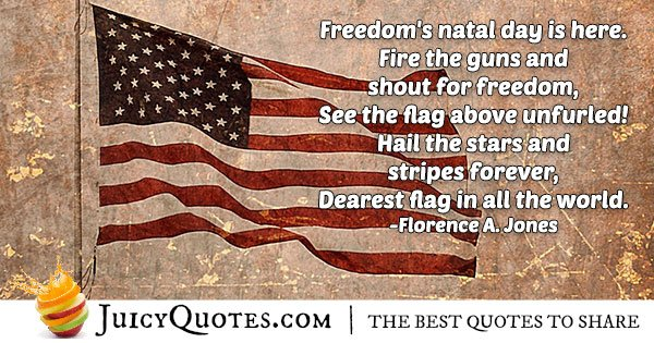 4th of July Flag Quote