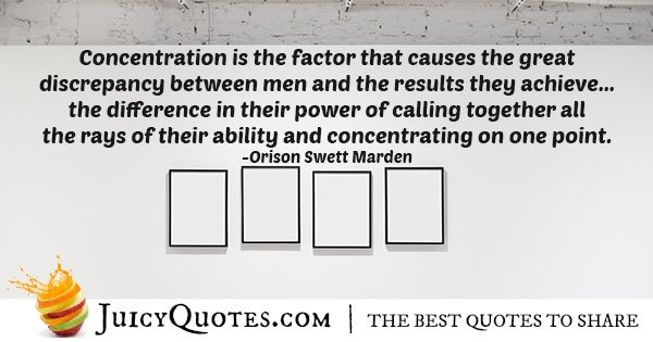 Concentration is the Factor Quote