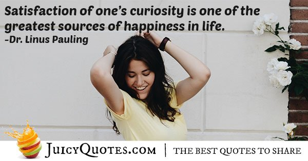 Satisfaction of Curiosity Quote
