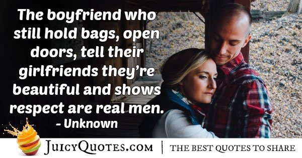 Real Men for a Girlfriend Quote