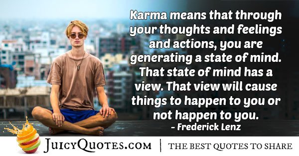 Karma a State of Mind Quote