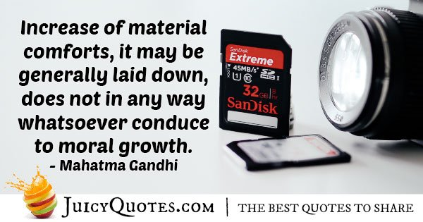Materialism VS Moral Growth Quote